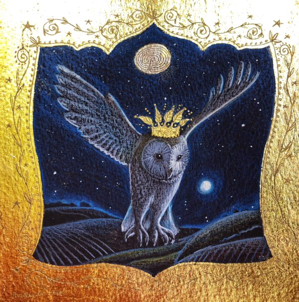Original pencil, acrylic and 24ct Gold 'Owl in Flight'