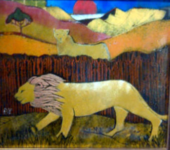 Enamel on copper Lions