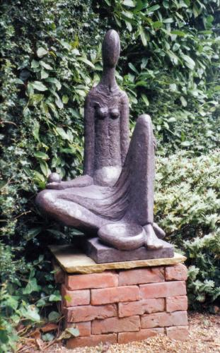 Stone resin garden sculpture, celtic water goddess.