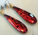 Acrylic Tear Drop Earrings in Red