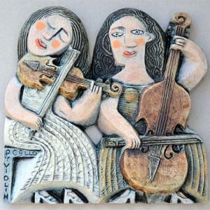 Ceramic Relief 'Violin and Cello'