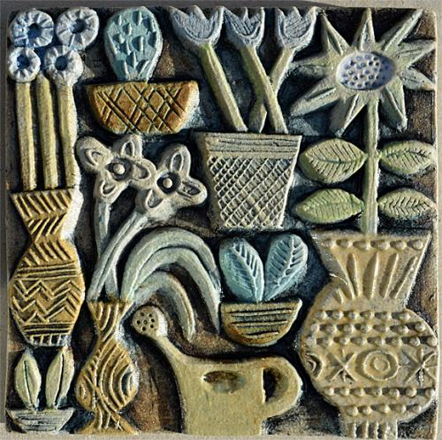Ceramic Relief 'Pots and Plants'