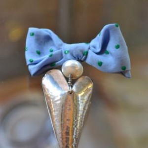 Silver Heart Blue Bow Brooch