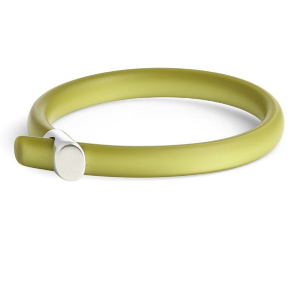 Cellulose Acetate Loop Bangle in Lime Pearl
