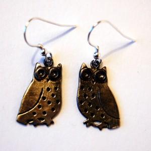 Brass & Bronze Little Owl Earrings