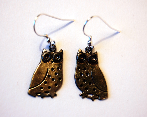 Brass & Bronze Little Owl Earrings