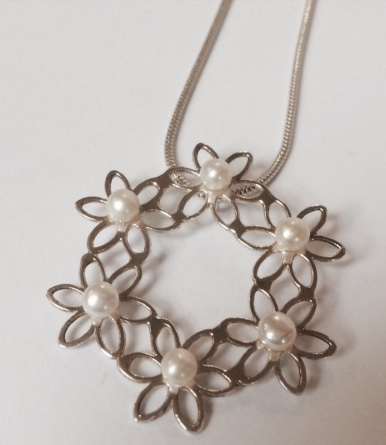 Silver and Pearl Flower Pendant