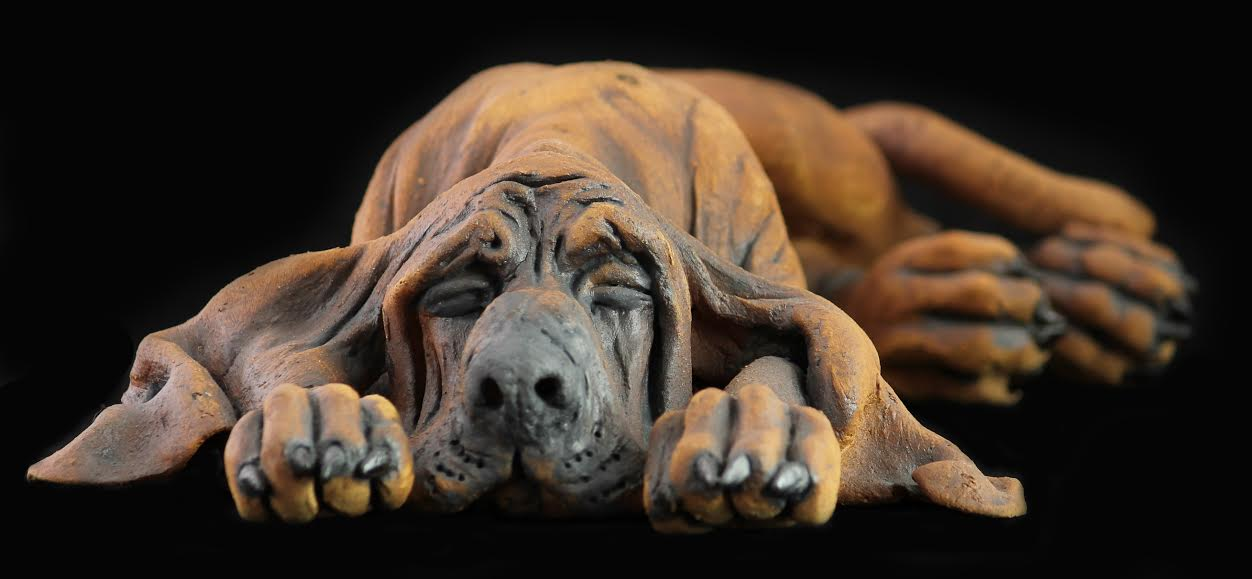 Ceramic bloodhound sculpture