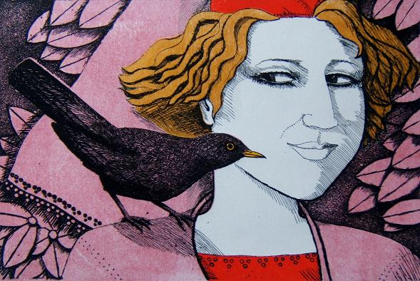 Limited edition etching - Girl with blackbird