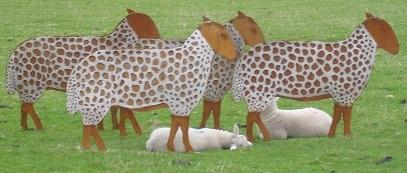 Flat Sheep Garden Sculptures
