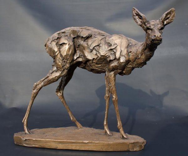 Cold Cast Bronze Roe Deer Doe sculpture