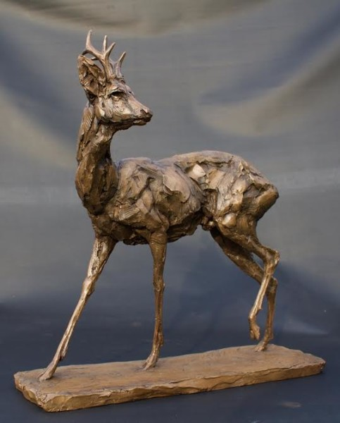 Cold cast bronze sculpture of roe deer buck