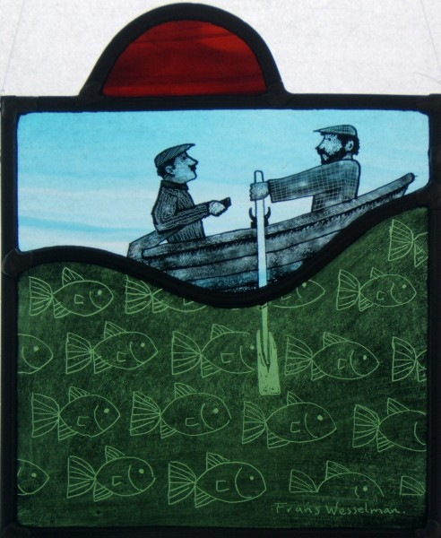 Stained glass panel Rowers