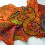 Nuno felted hand dyed silk scarf