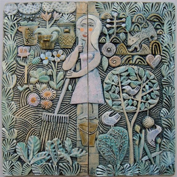 Ceramic Relief, In The Garden