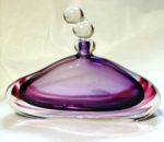 Hand blown lilac ruby musical bottle