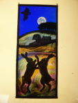 Stained Glass Panel Moonlit Boxing Hares