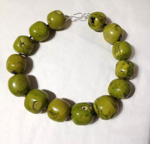 Necklace in Green Sea Bamboo