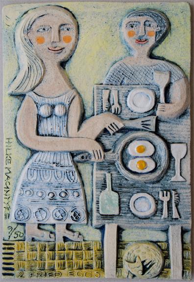 2 fried Eggs Ceramic relief