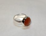 Silver ring with Orange Moonstone