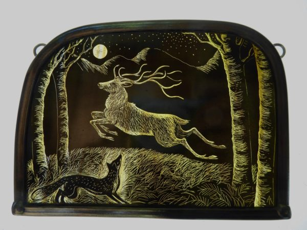 Stained Glass Panel The Golden Stag