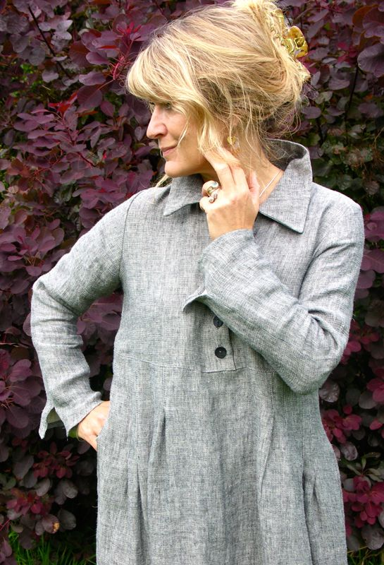 Winter button shirt dress