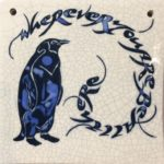 Raku Tile Small Square 'Blue Penguin'