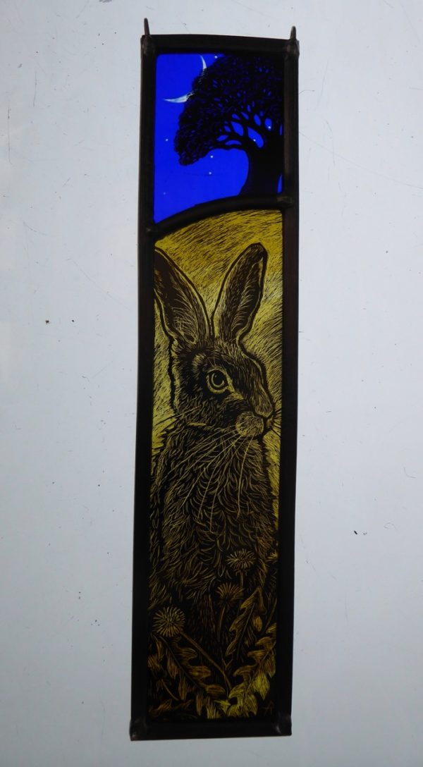 Stained Glass Panel New Moon Dandelion Hare