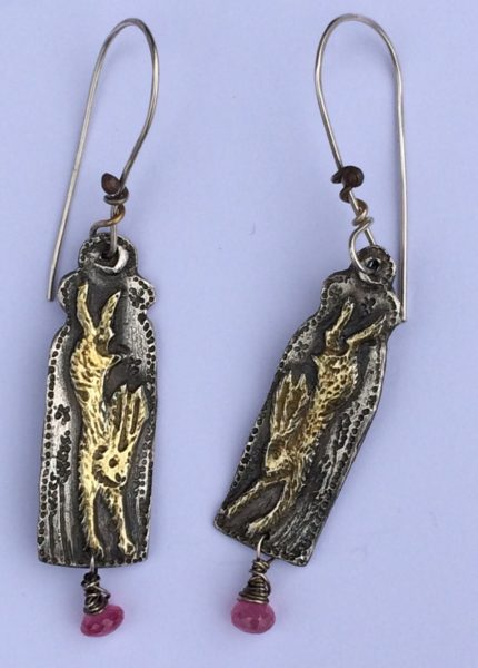 Silver Earrings with Hares