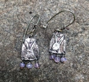Silver Hare Earrings with Lilac Agate
