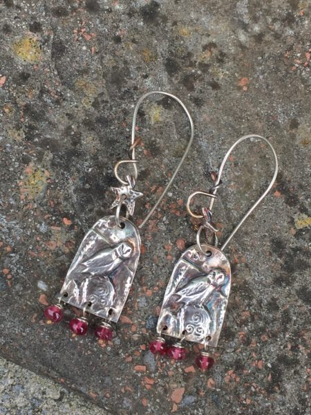 Silver Owl Earrings with Spinel