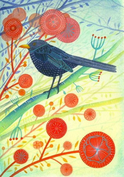 Giclee Print Blackbird looking left