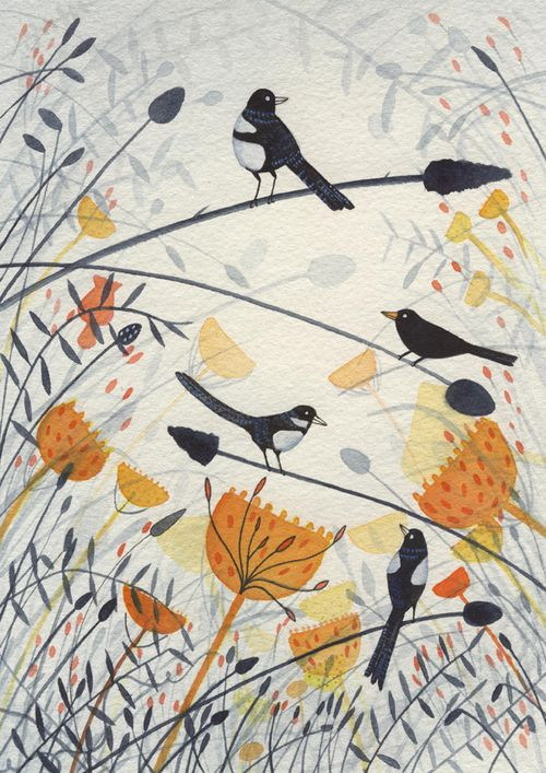 Giclee print 'Three magpies and a blackbird'