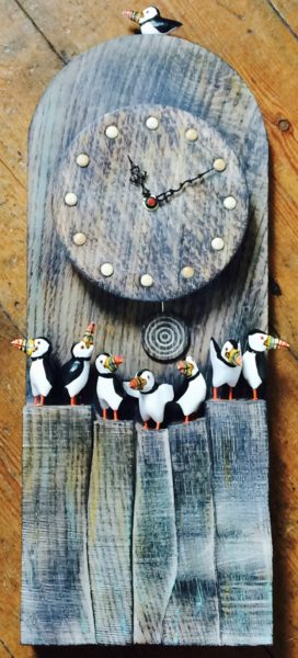 Carved Wood Puffin Clock