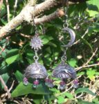 Silver celestial dome earrings