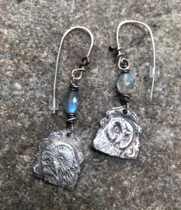 Silver Owl Earrings with labradorite