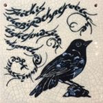 Raku Tile 'Blackbird'