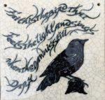 Raku Blackbird Tile
