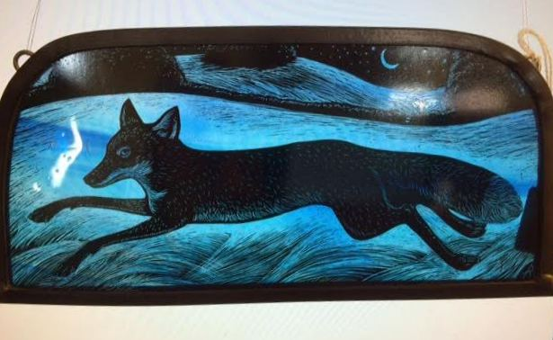 Stained Glass Fox Panel