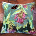 Hand painted silk velvet Comfrey Cushion