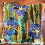Hand painted silk velvet Iris Cushion