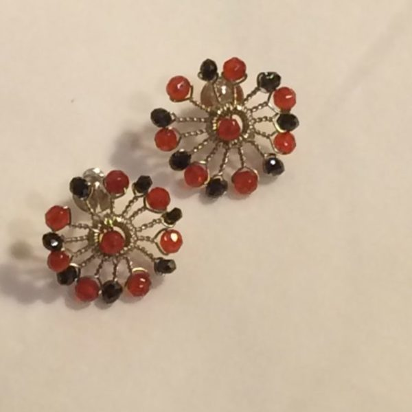 Silver Starburst Stud Earrings, Carnelian and Spinel