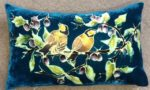 Hand painted silk velvet cushion