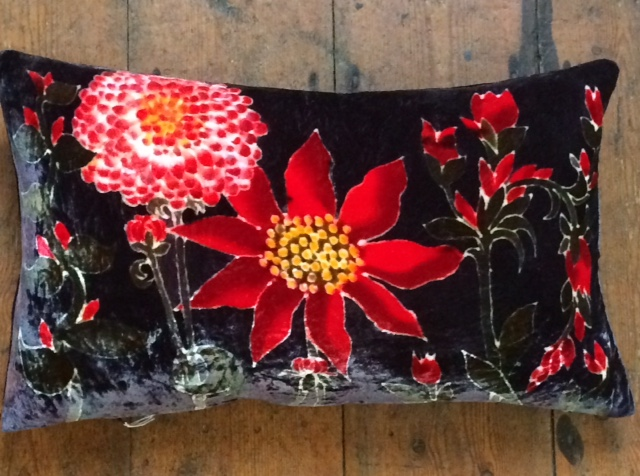 Hand painted silk velvet Flower Cushion