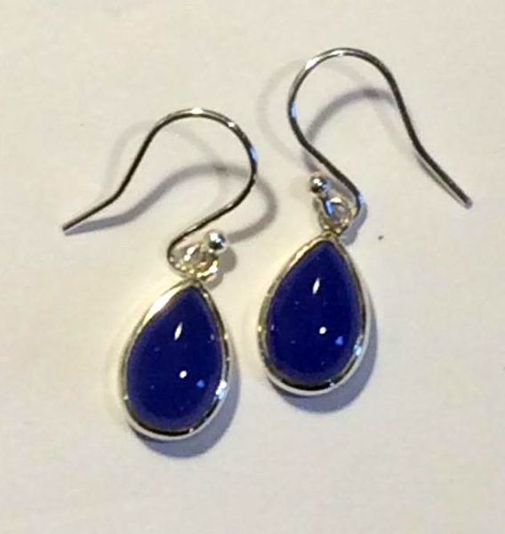 Blue agate pear shaped earrings