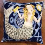 Hand painted silk velvet Mermaid Cushion
