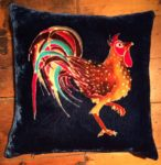 Hand painted silk velvet Hen Cushion