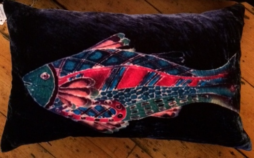 Hand painted silk velvet Fish cushion