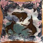 Hand painted silk velvet Hare Cushion