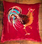 Hand painted silk velvet Hen cushion
